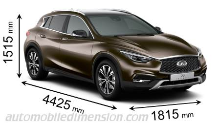 Infiniti QX30 2016 dimensions with length, width and height