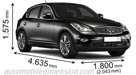 Infiniti QX50 2009 dimensions with length, width and height