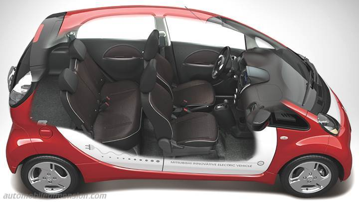 mitsubishi i miev 2011 dimensions boot space and interior. Black Bedroom Furniture Sets. Home Design Ideas