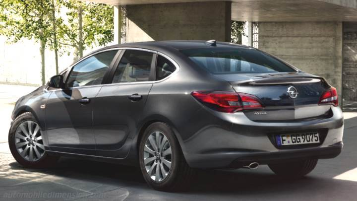 Opel Astra 4p 2012 dimensions boot space and interior