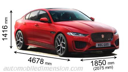 Jaguar XE 2019 dimensions with length, width and height