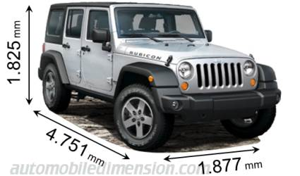 2012 jeep wrangler unlimited dimensions