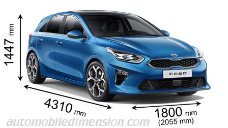 Kia Ceed 2018 dimensions with length, width and height