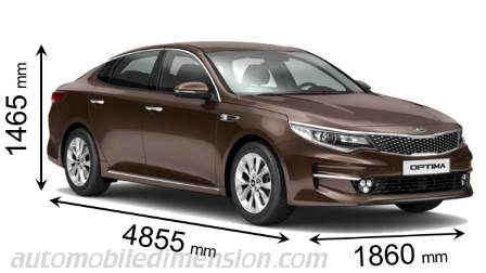 Kia Optima 2016 dimensions with length, width and height