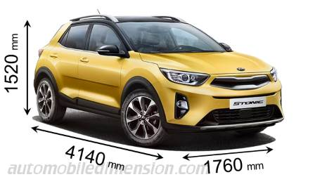 Kia Stonic 2018 dimensions with length, width and height