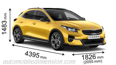 Kia XCeed 2020 dimensions with length, width and height