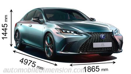 Lexus ES 2019 dimensions with length, width and height