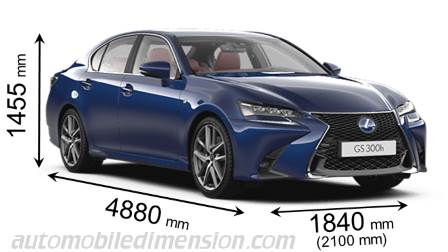 Lexus GS 2016 dimensions with length, width and height