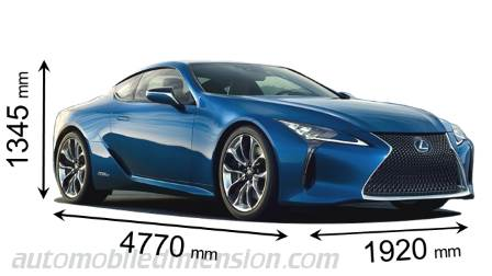 Lexus LC 2017 dimensions with length, width and height