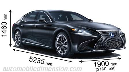 Lexus LS 2018 dimensions with length, width and height
