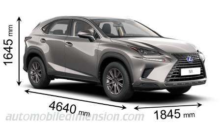 Lexus NX 2018 dimensions with length, width and height