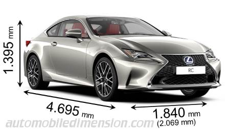 Lexus RC 2015 dimensions with length, width and height