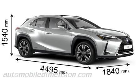Lexus UX 2019 dimensions with length, width and height