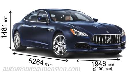 Maserati Quattroporte 2016 dimensions with length, width and height