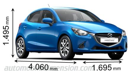 Dimensions Of Mazda Cars Showing Length Width And Height