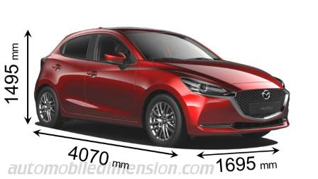 Mazda 2 2020 dimensions with length, width and height