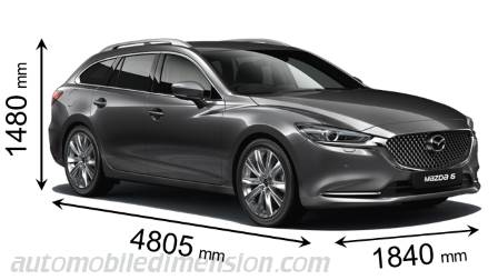 Mazda 6 Wagon 2018 dimensions with length, width and height