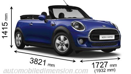 MINI Cabrio 2018 dimensions with length, width and height