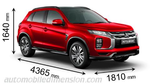 Mitsubishi ASX 2020 dimensions with length, width and height