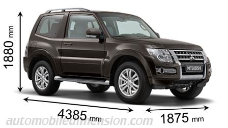 Mitsubishi Pajero 3-door  sc 1 st  Automobile Dimension & Dimensions of Mitsubishi Motors cars showing length width and height