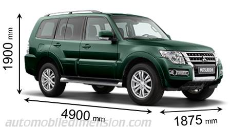 Mitsubishi Pajero 5p 2015 dimensions with length, width and height