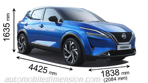 Nissan Qashqai measures in mm