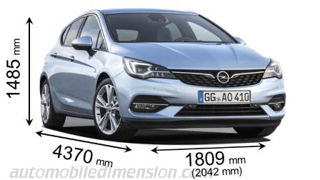 Opel Astra 2020 dimensions with length, width and height