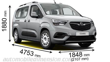 Opel Combo Life L2 measures in mm