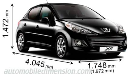 dimensions of peugeot cars showing length width and height. Black Bedroom Furniture Sets. Home Design Ideas