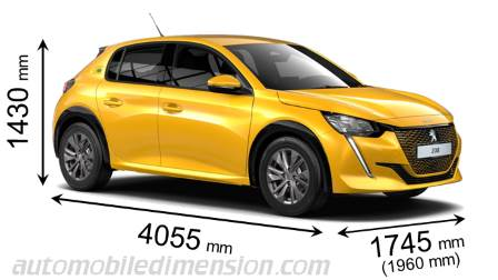Peugeot 208 2020 dimensions with length, width and height
