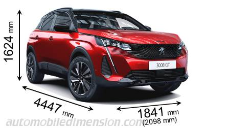 Peugeot 3008 2021 dimensions with length, width and height