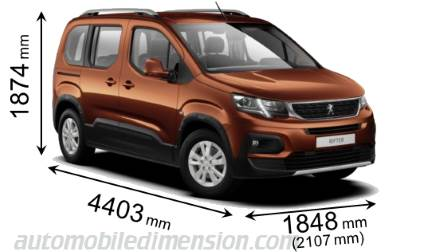 Peugeot Rifter 2019 dimensions with length, width and height