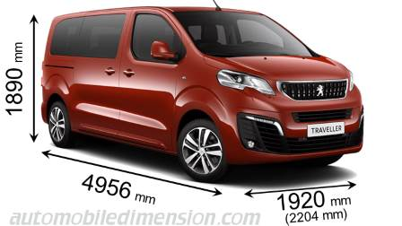 Peugeot Traveller Standard 2016 dimensions with length, width and height