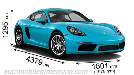 Porsche 718 Cayman dimensies en mm