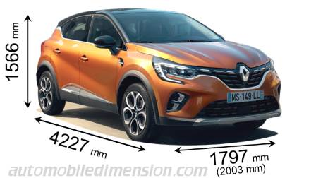 Renault Captur 2020 dimensions with length, width and height