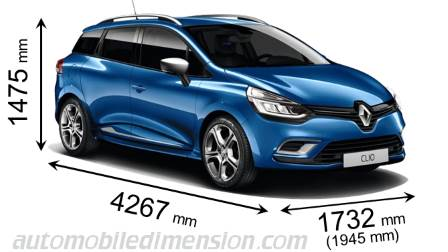 Dimensions of Renault cars showing length, width and height
