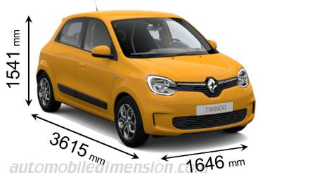 Renault Twingo 2019 dimensions with length, width and height