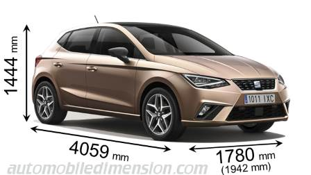 SEAT Ibiza measures in mm