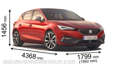 Seat Leon 2020 dimensions with length, width and height