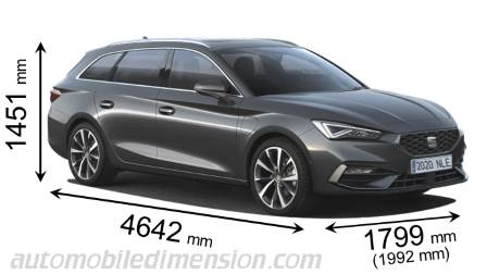Seat Leon Sportstourer 2020 dimensions with length, width and height