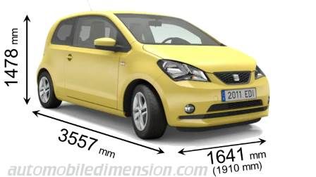 Seat Mii 2011 dimensions with length, width and height
