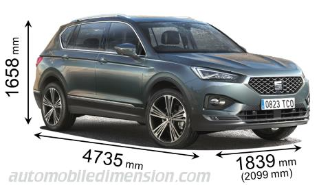 Seat Tarraco 2019 dimensions with length, width and height