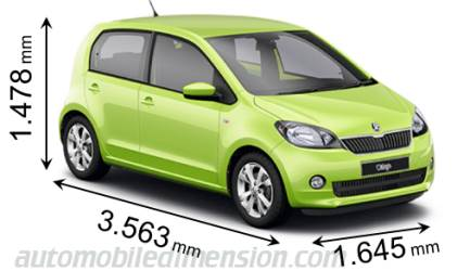 Skoda Citigo 2012 dimensions with length, width and height