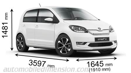 Skoda Citigo iV 2020 dimensions with length, width and height