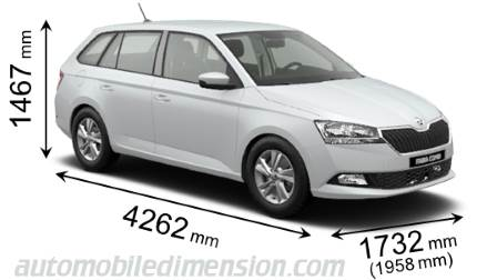 Skoda Fabia Combi 2018 dimensions with length, width and height