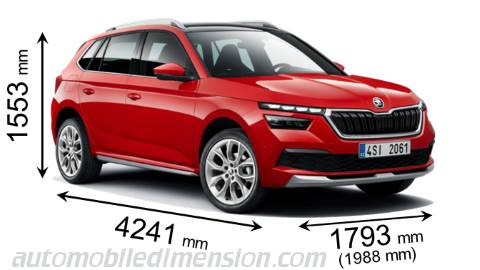 Skoda Kamiq 2020 dimensions with length, width and height