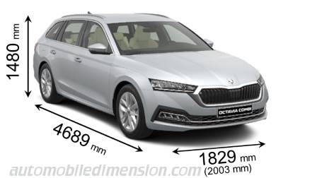 Skoda Octavia Combi 2020 dimensions with length, width and height