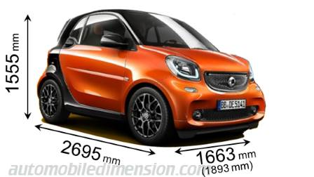 Smart fortwo 2015 dimensions with length, width and height