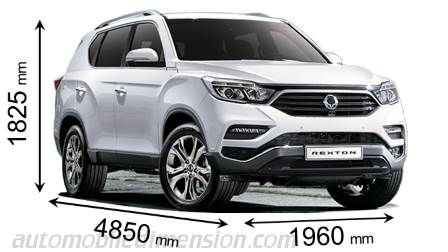 SsangYong Rexton 2018 dimensions with length, width and height