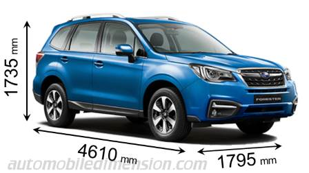 Kuga Dimensions >> Dimensions of Subaru cars showing length, width and height